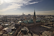 Germany, Hamburg, Cityscape from St. Petri church with St. Michaelis Church and town hall - KRP000430