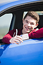 Teenager sitting in car showing driving license, partial view - UUF000175
