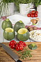 Eight ball squashes and vegetables on table, Low Carb - CSTF000238