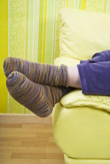 Germany, Mid-adult woman wearing handmade socks - ECF000587