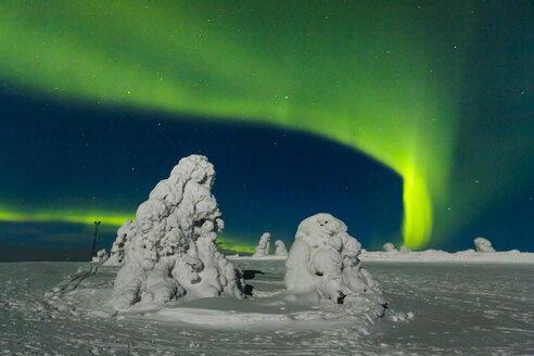 Scandinavia, Finland, Kittilae, Polar lights, Aurora borealis - SR000523