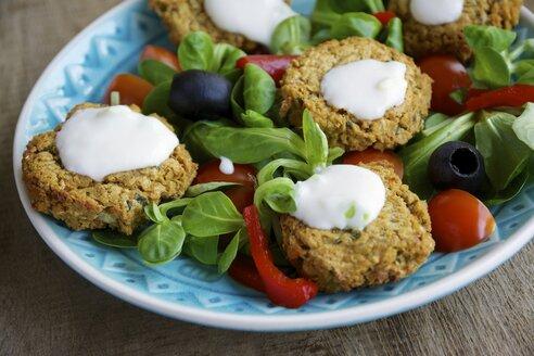 Falafel Salad with home made baked falafel - HAWF000106