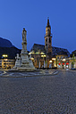 Italy, Alto Adige, Bolzano, Walther Square with monument of Walther von der Vogelweide and Bolzano cathedral - GF000420