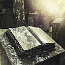 Germany, Baden-Wuerttemberg, Stuttgart, Hoppenlaufriedhof, Jewish Cemetery, grave stones, open book, Judaism - WD002480