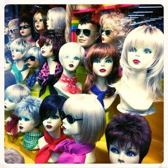 Window dressing with wigs, Nuremberg, Bavaria, Germany - ED000062