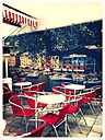 Ice cream parlor in front of the harbor panorama, Munich, Bavaria, Germany - ED000045