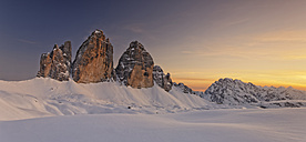 Italy, Dolomites, Trentino-Alto Adige, Pustertal valley, Hochpuster valley, Tre Cime di Lavaredo at sunset - GFF000451