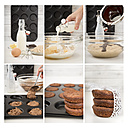 Collage of six photographies of preparing Whoopie pies - CSTF000253