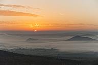 Germany, Rhineland-Palatinate, Vulkan Eifel, View from Teufelskanzel to Nickenich, Kruft at sunrise - PA000599