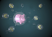 Illustration, Bubbles with piggy bank, Euros and interests - ALF000138