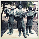 Three musicians in the old town of Santa Cruz, Santa Cruz, La Palma, Canary Islands, Spain - SEF000660