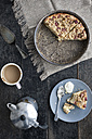 Rhubarb Cheese Cake in cake pan with coffee - IPF000105