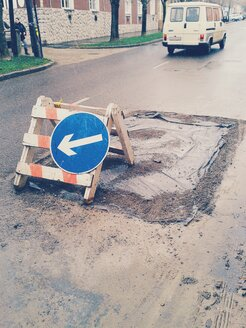 Hungary, Tolna, Bonyhád, makeshift marked road works - BR000537