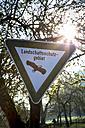 Germany, Baden-Wuerttemberg, Tuebingen, Sign nature preserve, protected landscape - LVF001076