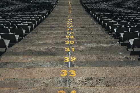 Spain, Catalunya, Barcelona, Old olympic stadium, Steps with numbers - EBSF000161