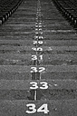 Spain, Catalunya, Barcelona, Old olympic stadium, Steps with numbers - EBS000163