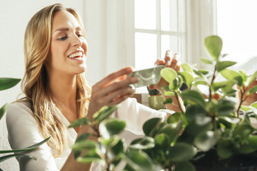 Germany, Bonn, Young woman taking a picture with her cell phone of her plants at home - MFF001007