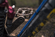 Germany, Lower Saxony, Deister, Mountainbike after Freeride in forest, dirty bicycle pedal - MUMF000057