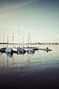 Germany, Hamburg, Alster, Sailing boats at jetty - KRPF000441