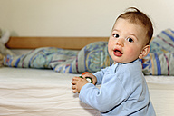 Portrait of baby boy at home - LAF000782