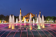 Turkey, Istanbul, Fountain in the Park, Hagia Sofia Mosque in the background - SIE005308