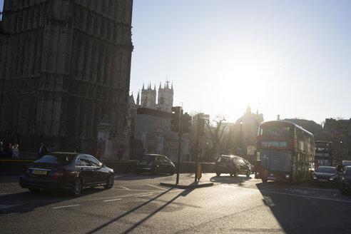 UK, London, Double decker bus in front of Big Ben - FLF000414