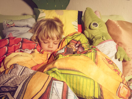 Child, boy, business, child's room, bed - MJF000998
