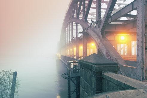 Germany, Hamburg, Freihafenelbbruecke, morning mist - MSF003824