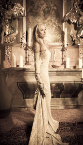 Young woman standing in front of altar - FCF000153