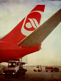 Unloading of a commercial aircraft of Air Berlin, Dusseldorf, North Rhine-Westphalia, Germany - ON000454