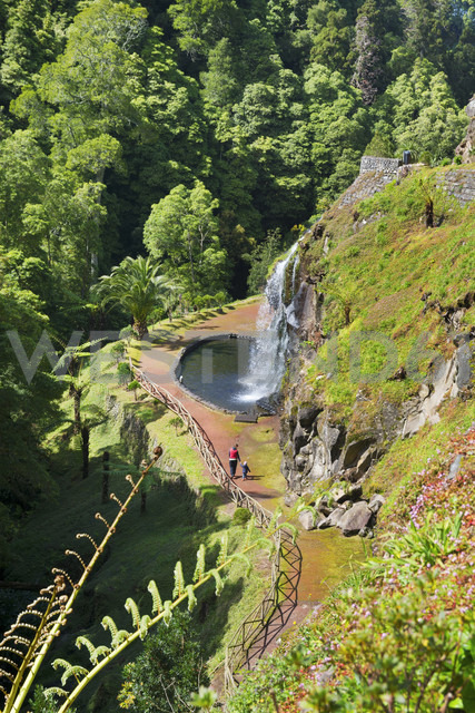 Portugal, Azores,Sao Miguel, Waterfall at Parque National da Ribeira dos Caldeiroes - ONF000451