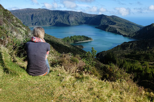 Portugal, Azores,Sao Miguel, Tourist looking at view - ONF000485