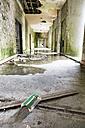 Portugal, Azores, San Miguel, hallway in empty hotel ruin - ONF000475