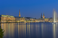 Germany, Hamburg, Binnenalster with skyline after sunset - RJF000122