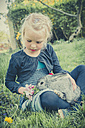 Little girl with rabbit sitting on meadow - MJF001108