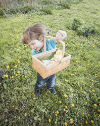 Happy little boy with basket dancing in the garden - ZMF000271