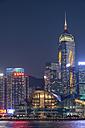 China, Hong Kong, downtown city centre by night - SH001260