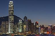 China, Hong Kong, downtown city centre by night - SHF001237