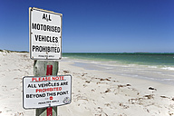 Australia, Western Australia, Cervantes, prohibition signs on the beach - MIZ000482