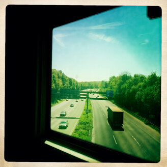 View from the ICE on the highway near Offenbach, Hesse, Germany - DHL000450