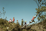 Group of children climbing on tree - HHF004804