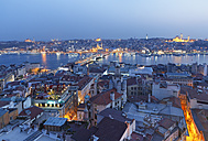 Turkey, Istanbul, View from Galata-Tower to Galata bridge and Golden horn in the evening - SIEF005353