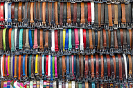 Italy, Tuscany, Florence, Market stall, Leather belts - KLR000049