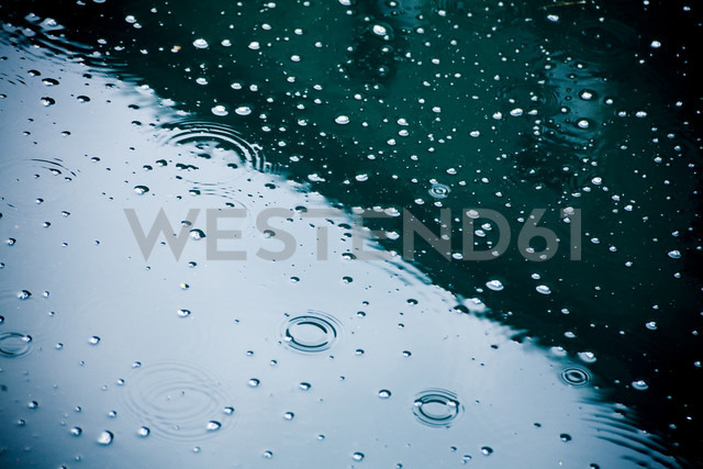 Raindrops falling on puddle, partial view - DISF000832
