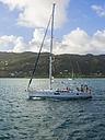 Caribbean, Martinique, Sainte-Anne, Sailing yacht on the ocean - AMF002214