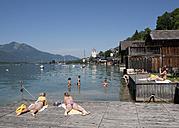 Austria, Salzkammergut, Salzburg State, Lake Wolfgangsee, Bathing jetty - WW003256