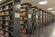 Germany, Berlin, book shelves at Jacob-und-Wilhelm-Grimm-Zentrum - NK000107