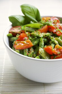 Springtime salad with green beans, sugar snap pea pods, red bell pepper and cherry tomatoes - HAWF000167
