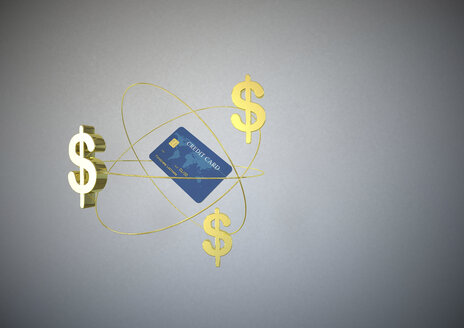 Credit card and three golden dollar signs in front of grey background, 3D Rendering - ALF000150