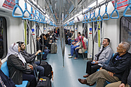 Turkey, Istanbul, People in new underground train Marmaray underneath the Bosphorus - SIE005420